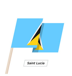 Saint lucia ribbon waving flag isolated on white vector