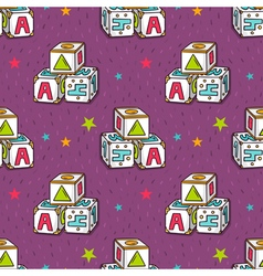 Seamless pattern with baby toy blocks vector