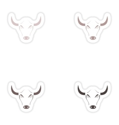 Set of paper stickers on white background bull vector