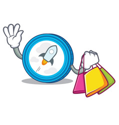 Shopping stellar coin character cartoon vector