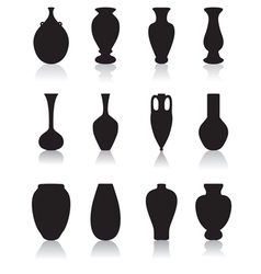Silhouettes of vases vector image