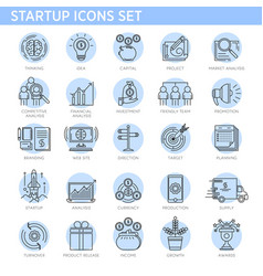 startup concept line icons set business vector image