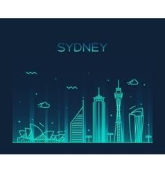Sydney skyline trendy linear vector image
