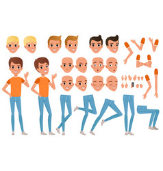 Teenager boy character constructor set of various vector