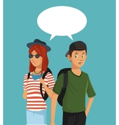 Teens boy and girl talking bubble speech vector