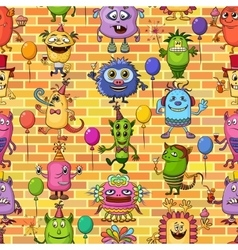 Cartoon monsters seamless vector