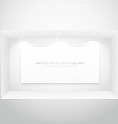 Display window with presentation picture frame vector
