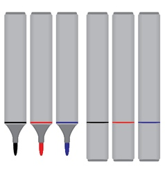Marker black red blue with cover isolated on white vector