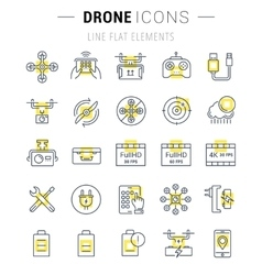 Set flat line icons drones vector
