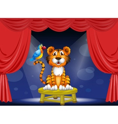 A tiger and a parrot in the circus vector image