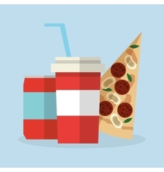 Pizza food and soda design vector