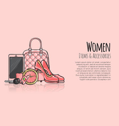 Women items and accessories fashionable web banner vector