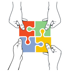 Four hands joining puzzle piece - association and vector