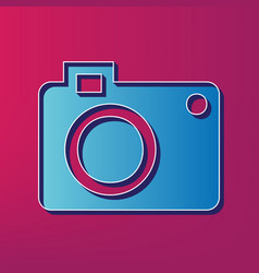 Digital camera sign  blue 3d printed icon vector