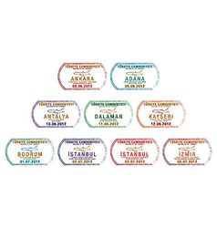 Turkey passport stamps vector