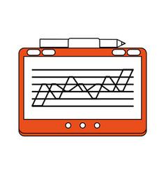 color silhouette cartoon orange digitizing tablet vector image