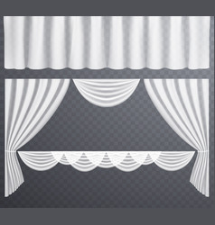 White transparent curtains open vector