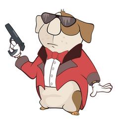 Guinea pig gangster cartoon vector