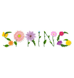 Spring text with flowers vector