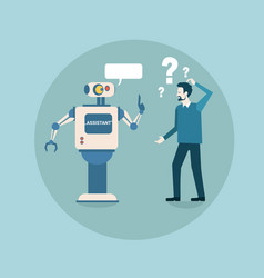modern robot think problem with business man vector image