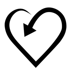 Arrow in heart shape vector