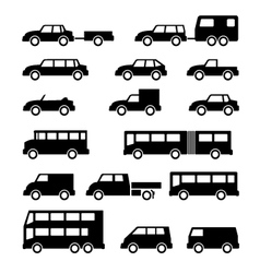 Set icons of car and bus vector image