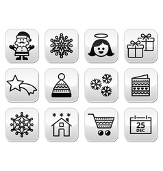 Christmas xmas celebrate buttons set vector