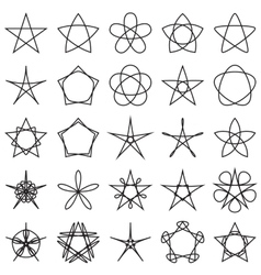 Set of stars geometric shapes vector