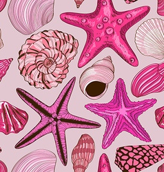 Seamless pattern of seashells and starfish vector