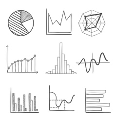 Sketched business graphs and charts vector