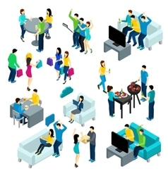 Friends isometric set vector