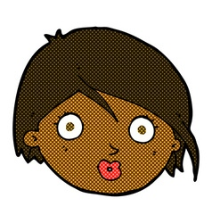 Comic cartoon surprised female face vector