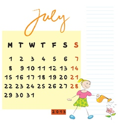 july 2013 vector image