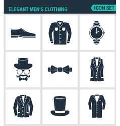 Set of modern icons elegant men s clothing vector