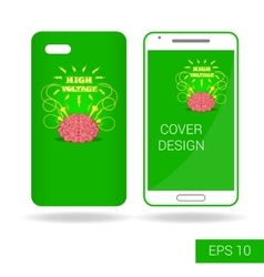 Design cover smartphone with funny human brain vector