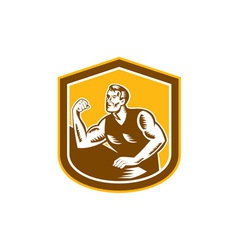 Arm wrestling champion woodcut shield vector