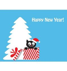 cat in gift box vector image