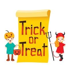 Children in halloween costume with banner vector