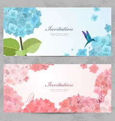 Collection of beautiful romantic banners hydrangea vector image vector image