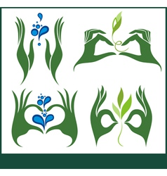 Collection of ecological symbols and signs vector image