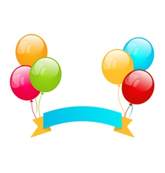 Colorful balloons with ribbon for place your text vector