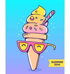 Colorful of character gradient ice cream wit vector
