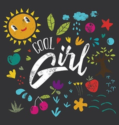 Cool girl to print T-shirts Hand lettering vector image