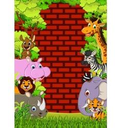 Cute animal wildlife cartoon vector