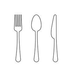 Drawing of a thin line of a fork a spoon vector