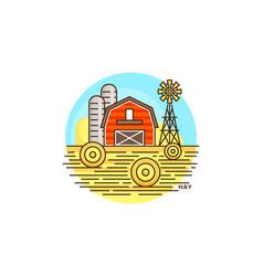 farming hay line icon farm barn flat vector image