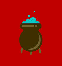 Flat icon stylish background cauldron witches vector