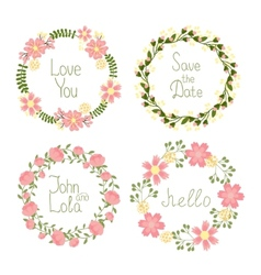 Floral frame wreaths for wedding invitations vector image
