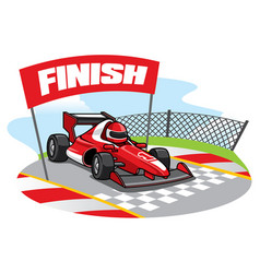 formula racing car reach the finish line vector image