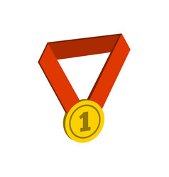 Gold medal symbol flat isometric icon or logo 3d vector